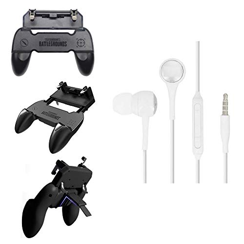 I-Birds Enterprises® Premium W10 Gamepad Handle Grip Wireless Controller Joystick with Metal Buttons Trigger Key & Universal in-Ear Headsets Mic, Bass, Equalizer & 3.5mm Jack For Android&iOS Smartphone (Assorted)