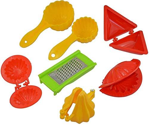 Enerex The Kitchen Mall 7 Pcs Plastic Food Mould Combo for Kachori, Samosa, Modak, Ghughara, Ladoo Scoop, Gujiyaa Maker, Baby Cheese Grater Molds (Multicolour)