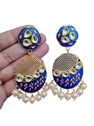 Mahi Handicrafts Handmade Tibetan Traditional Dangler Earrings for Women and Girls (Blue)