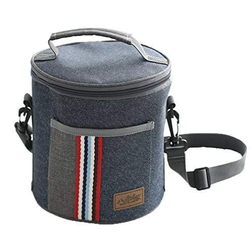 Simxen New Cylindrical Thermal Lunch Bag Cooler Thermo Insulated Food Picnic Kids Men and Women Casual Canvas Box