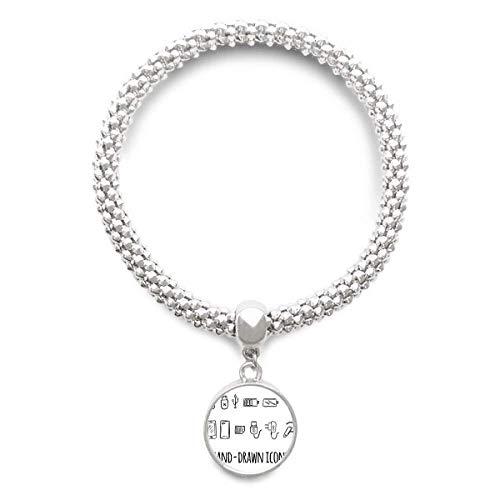 DIYthinkerPlug Socket Charging Cable Pattern Sliver Bracelet Pendant Jewelry Chain Adjustable Bangle