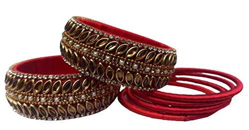 Traditional Silk Threaded Bangle/Kadda, Red Kadaa, Stone/Bead Studded, Size 2.6 - Pair
