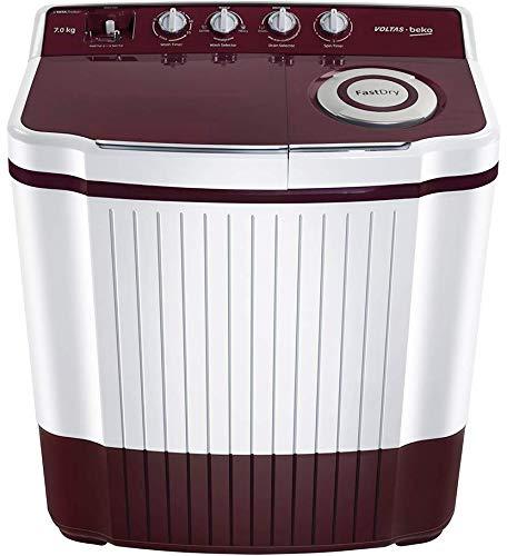 Voltas Beko 7 Kg Semi-Automatic Top Loading Washing Machine (WTT70ALIM, Burgundy Qpaque)