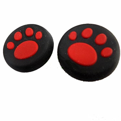 Microware Black & Red Color Cat Paw Controller Joystick Thumbstick Grips Silicone Caps For PS4 Xbox One