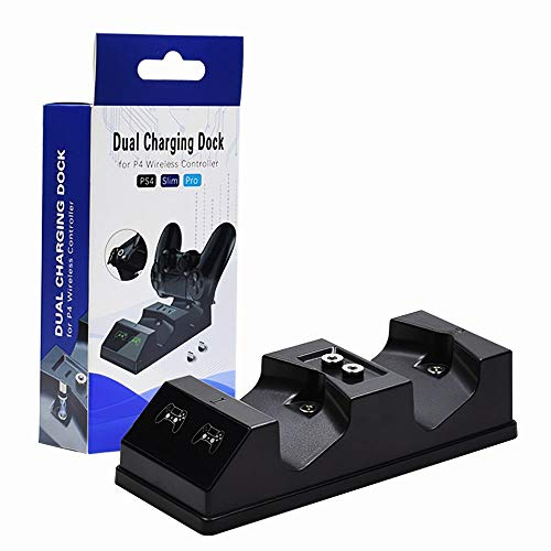 dodocool PS4 Controller Charger Station Dual Charger Dock with 2 Micro USB Charging Dongles for PS4 PS4 Slim PS4 Pro Controller