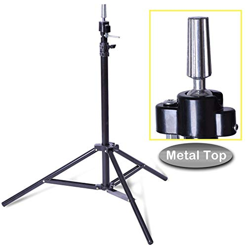 Crazy Hair Adjustable Mannequin Head Tripod Stand Salon Hair Hairdressing Training Display Stand Holder Dummy Wig Head Tools Accessories.