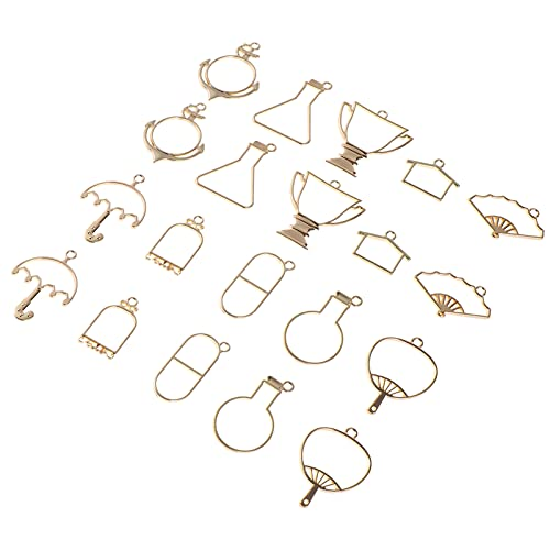 HEALLILY 20pcs Golden DIY Bezel Charms Pendants Open Back Bezel Pendants Hollow Mold Pendants Hollow Pressed Flower Frame Pendant DIY Crafts for Earrings Necklace Bracelet