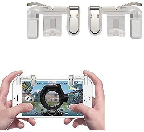 Henika Henil Creation PUBG Mobile Trigger || Transparent || 1 Pair of Sensitive Game Triggers for PUBG/Knives Out/Rules of Survival for All Android and iOS Phones (Pack of 1) (White)