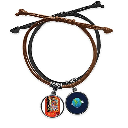 Bestchong DIYthinkerSpring Happy New Year Art Deco Gift Fashion Bracelet Rope Hand Chain Leather Earth Wristband