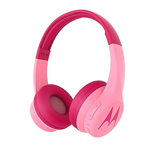 (Renewed) Motorola Squads 300 Wireless Kids Headphones with 24 Hours Play Time, Audio Splitter for Sharing and Anti-Allergic Cushion – Pink