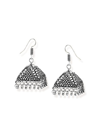 Zaveri Pearls Antique Silver-Toned Triangular Jhumki Earring-ZPFK6558