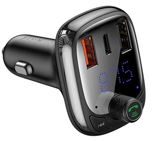 CABLESETC 36W Fast PD Car Charger FM Transmitter Bluetooth 5.0 Car Kit Supports QC 3.0 QC 4.0 PPS PD 3.0 SCP FCP MTK PE+ for All Phones and Vehicles