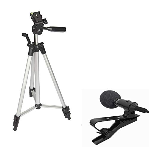 Gooselike Technofill Aluminium Alloy Big Tripod Stand Mobile with Camera Holder 5 ft with Combo Collar Mic 3.5 mm Clip-on Mini Lapel Lavalier Microphone for YouTube, Photo/Video Recording