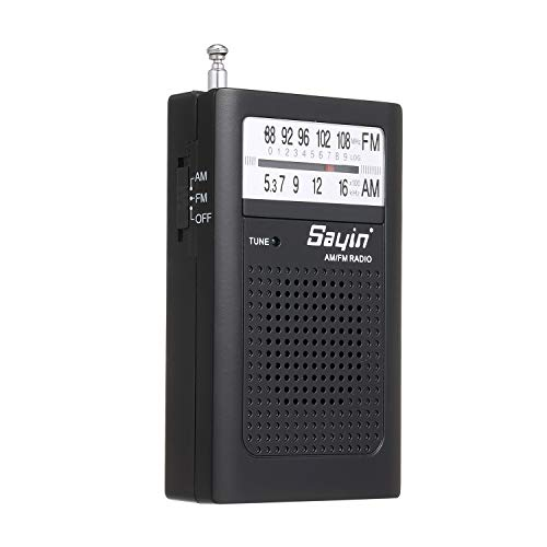 Honeytecs Mini AM FM Radio 2 Band Radio Receiver Portable Pocket Transistor Radio Built-in Speaker w/Headphone Jack Telescopic