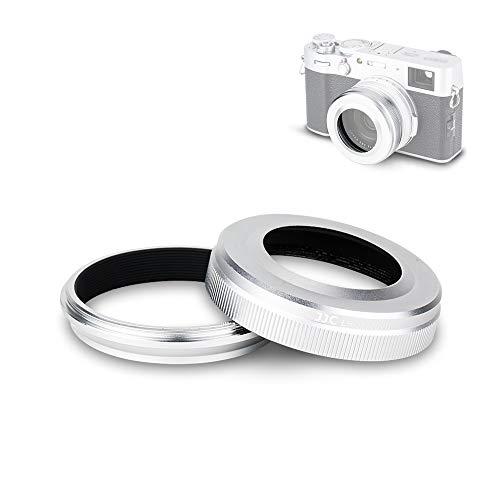 JJC Lens Hood Shade Set for Fuji Fujifilm X100V X100F X100T X100S X100 Replace Fuji LH-X100 Hood & AR-X100 Adapter Ring Attaching 49MM Filter -Silver