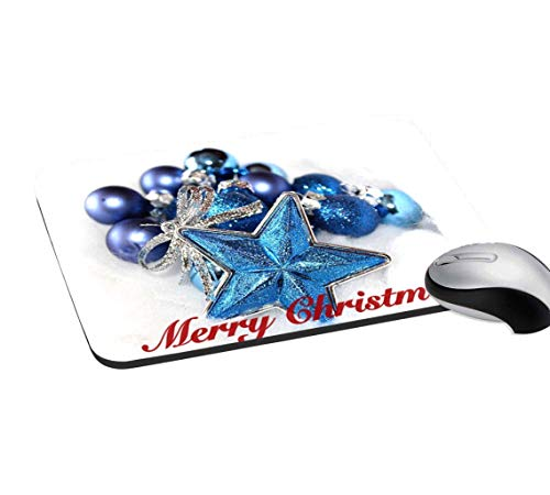 RADANYA Christmas Mouse Pad Non-Slip Rubber Gaming Mouse Pad Mat for Laptop Computer & PC 7.2x8 Inches, Off White & Blue