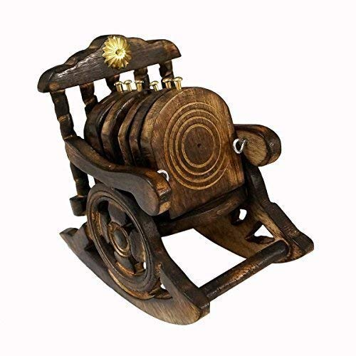 geniric Wooden Antique Beautiful Miniature Rocking Chair Design Tea Coffee Coaster Set