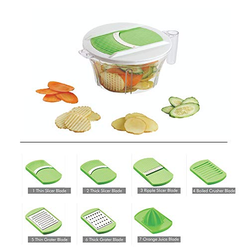 SARANGWARE® Multi Purpose 7 in 1 Vegetable Slicer, Grater, Juicer with Unbreakable Transparent Container, Green