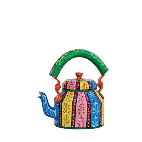 iHandikart Hand Painted Designer Aluminium Kettle for Tea/Coffee, Home Décor& Gift Purpose. Capacity 1 L, Size 8.5