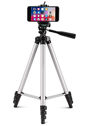 AWAKSHI AW-3110 Foldable Camera Tripod with Mobile Clip Holder Bracket, Fully Flexible Mount Cum Tripod, Standwith 3D Head & Quick Release Plate (Black)