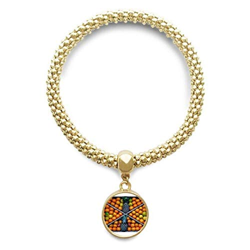 DIYthinkerFresh Plant Fruits Picture Photography Golden Bracelet Round Pendant Jewelry Chain