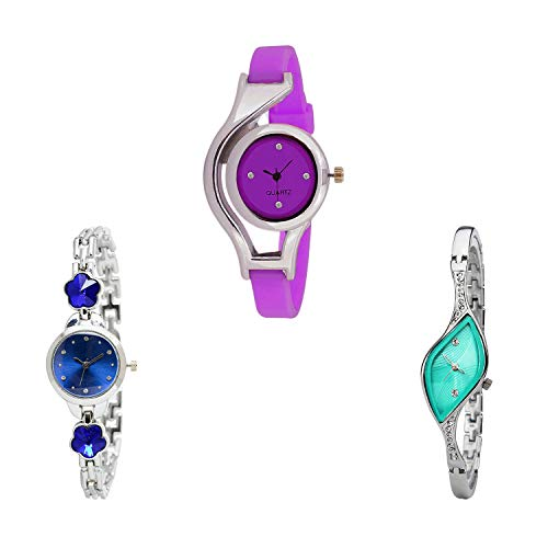NIKOLA World Cup, Flower Dimond Analog Purple and Blue and Green Color Dial Women Watch - G4-G338-G406 (Pack of 3)