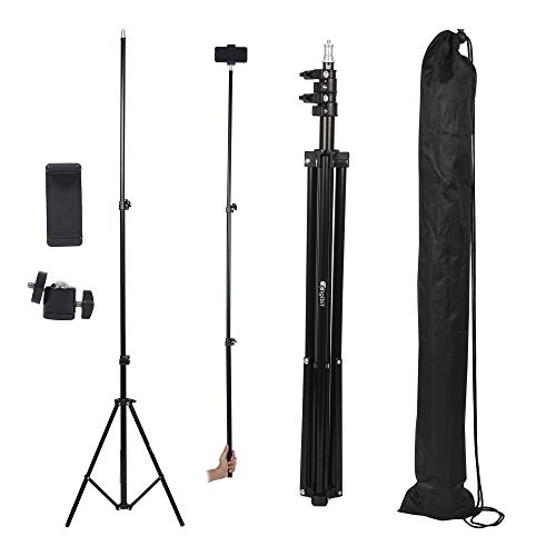 DIGIBIT Heavy Duty Aluminum Alloy BLACK 180 cm Photography Tripod LED Light Stand with Mobile Holder and Connector for Photo and Video Lighting Studio Ring Light Reflector Soft box Umbrella Background