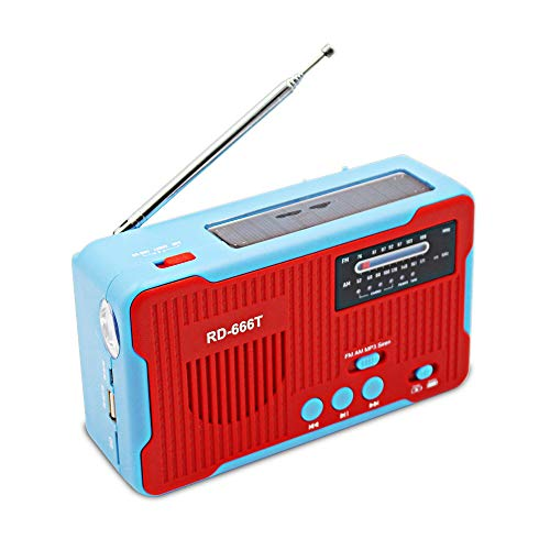 Sangmei Solar Powered or Power Generation by Hand FM AM Radio USA NOAA Weather Forecast with 1LED Flashlight USB Emergency Charger Emergency Alarm Camping Supply with TF Card Slot MP3 Player TN#