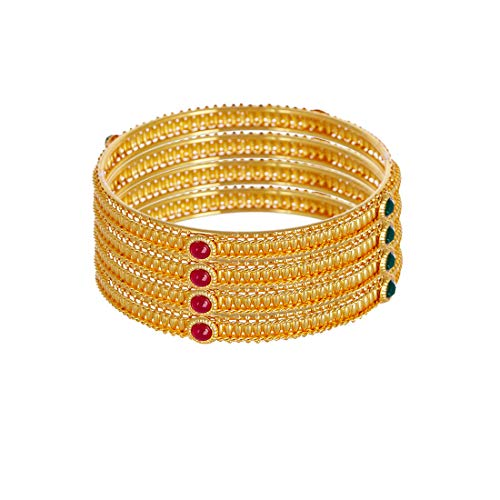 Zeneme Bangle Gold Plated Alloy CZ Studded Red and Green Inspired By Indian TV Show Traditional Kada Jewellery Bangle Set For Girl and Women (2.6)