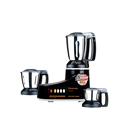 Panasonic MX-AC380 550 Watt Plastic Hazards Free Double Safety Locking Mixer Ginder, Three Jar, Black, (1,000 watts max. motor locked wattage)