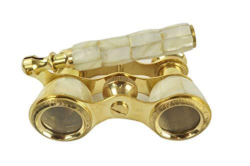 Aysha Ins. Antique Reproduction Brass Opera Glasses Binoculars Mother of Pearl Binoculars Monocular