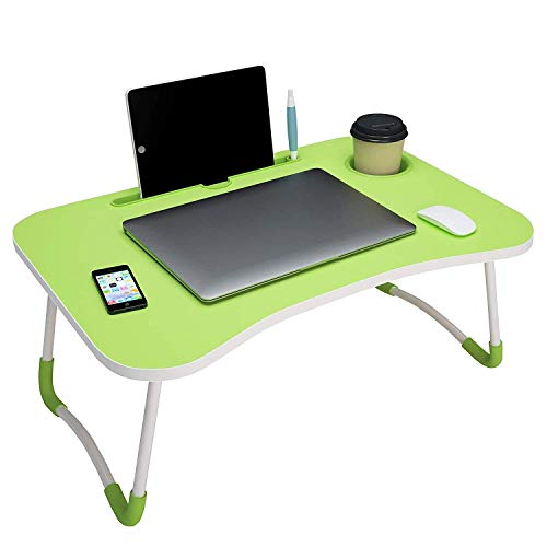 FINIVIVA Foldable Laptop Desk Table, Study Table/Dock Stand with Foldable Metal Legs with Mobile Dock Stand (L 60 cm, H 28 cm, W 40 cm). (1 pc - Multicolour)