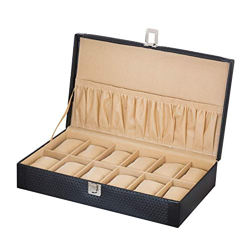 Valley. PU Leather 12-Slot Watch Case (Black)