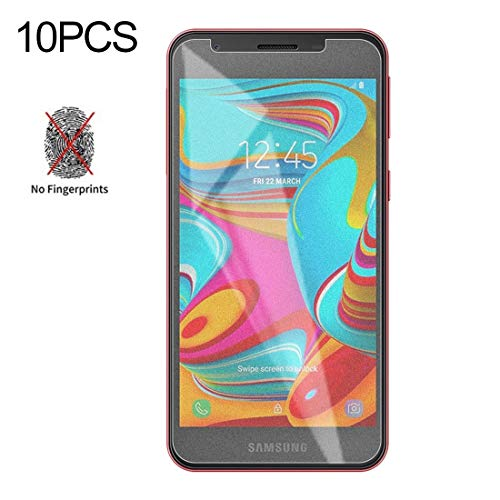 LIDGRHJTHTGRSS Mobile Phone Accessories Screen Protectors 10 PCS Non-Full Matte Frosted Tempered Glass Film for Galaxy A2 Core