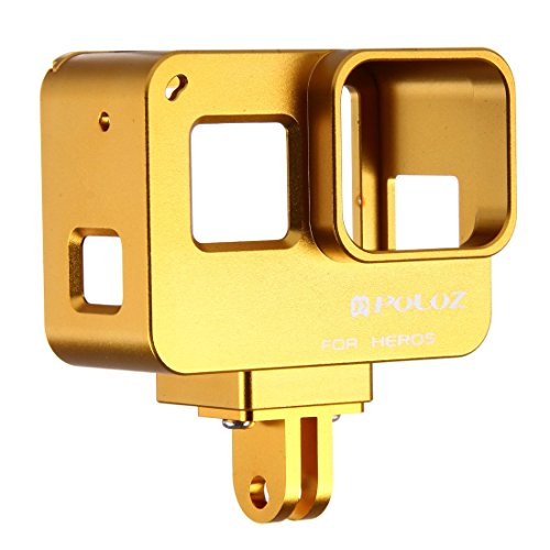 PULUZ Housing Shell CNC Aluminum Alloy Protective Cage with Insurance Frame for GoPro Hero(2018) /7 Black /6/5(Gold)