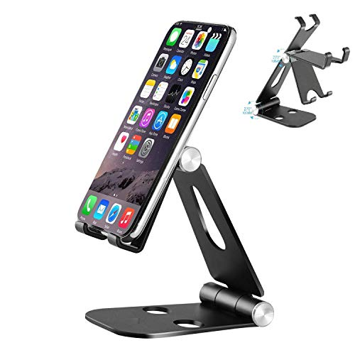 Wayona Aluminium Mobile Stand Adjustable Multi-Angle Foldable/Holder Dock Stand for Smartphones,Tablets and iPad (Mobile Stand, Black)