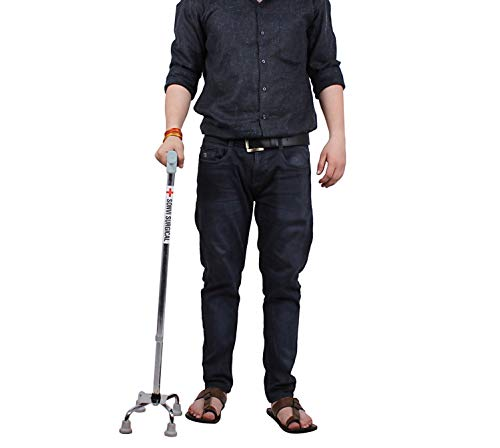 Sonvi Surgical Four Leg Crome Adjustable Height Crutch Handle Walking Stick For Unisex - Silver
