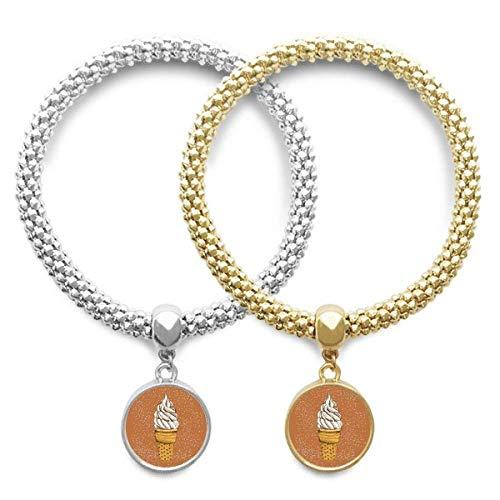 DIYthinkerCream Chocolate Egg Cones Ice Cream Lover Bracelet Bangle Pendant Jewelry Couple Chain Gift