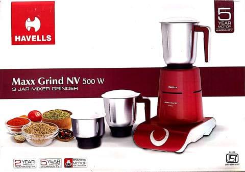 Havells Maxx Grind NV Mixer Grinder, 500W, 3 Jars, Cherry Red