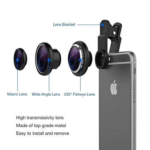 RIYA Products Universal Clip Type 3 in 1 Fish Eye, Wide Angle & Macro Lens for All Android/Smartphones Model 80933