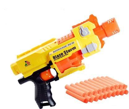 BACKGAMMON® Mini Toy Gun Plastic Safe Gun Battery Operated Semi-Auto Machine Gun Blaze Storm Gun with 20 Foam Bullets for Children Guns & Darts