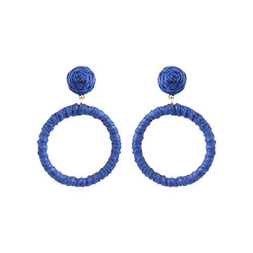 Voylla Rafia Story Blue Thread Earrings Jewellery For Women