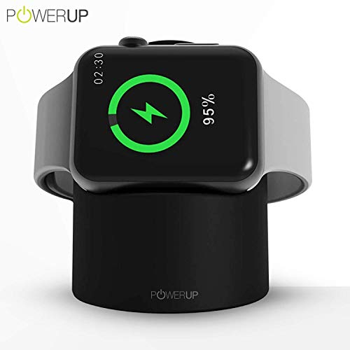 Powerup® Dock Stand Designed for Apple Watch Series 1; Series 2; Series 3; with Fast Wireless Charger & Compact Magnetic Charging Module Compatible with iWatch 38-44 mm (Black)