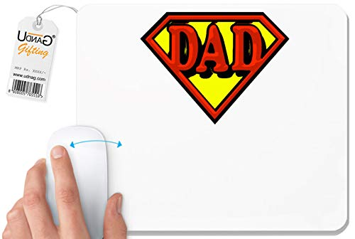 UDNAG White Mousepad 'Dad | Superman Dad' for Computer/PC/Laptop [230 x 200 x 5mm]