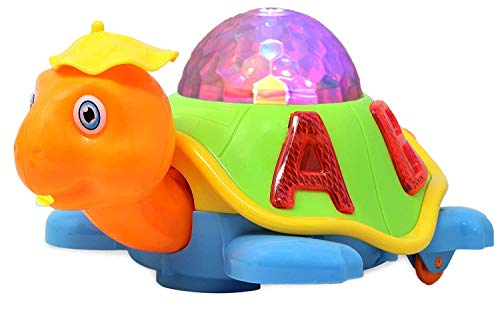 Farewell - Of Your Search Farewell Happy Turtle Battery Operated Kid's Bump and Go Toy Animal Figure with Cool 3D Flashing Lights, Music