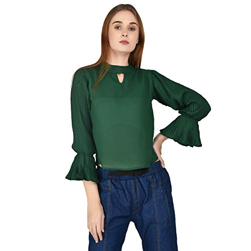 Fashion Stylemyth Women 3/4 Sleeves Regular Fit Solid Green Top