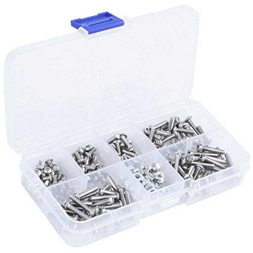 ELECTROPRIME 230Pcs M3 Stainless Steel Hex Hex Drive Button Head Socket Cap Bolts Screws B7I6