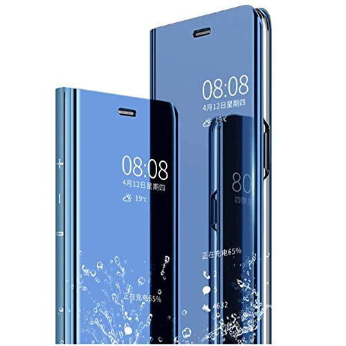 AE Mobile Accessories FLIP Case for XIAOMI REDMI 6 PRO Mirror Flip Cover Semi Clear View Smart Cover Phone S-View Clear, Kickstand FLIP Case Blue (Sensor flip is not Working)