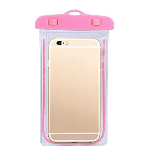 4d Waterproof Touch Sensitive Transparent Universal Pouch Cover for All Mobile Phones (Pink)