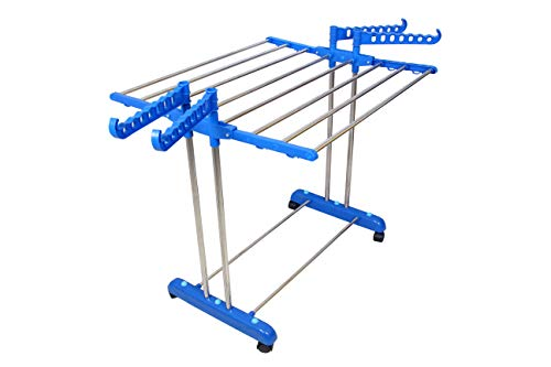 Vblue Single-Layered Double Pole M.S Carbon Steel, Plastic Floor Cloth Dryer Stand (Blue)